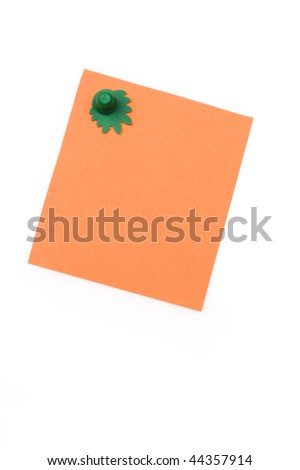 blank orange note with magnet - stock photo