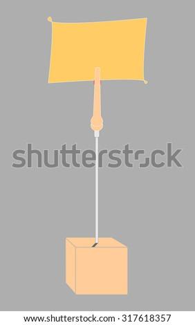 blank orange paper clamp by orange cube alligator wire   - stock photo
