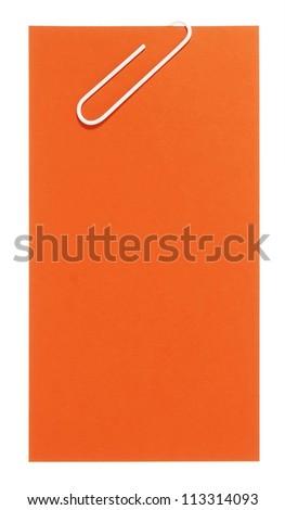Blank orange paper with white staple - stock photo