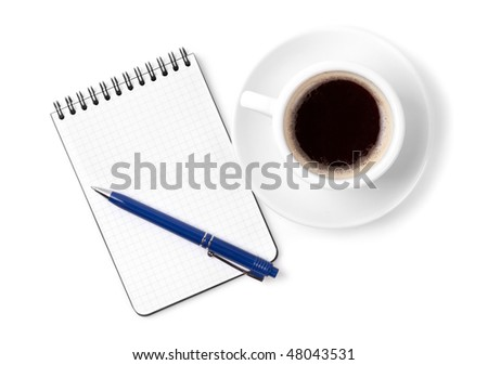 Blank organizer with pen and espresso cup. Isolated on white background - stock photo