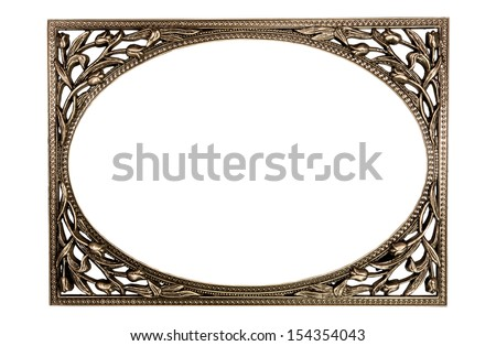 Blank ,Ornate ,Metal ,Picture ,Photo ,Frame, Isolated on White Background - stock photo