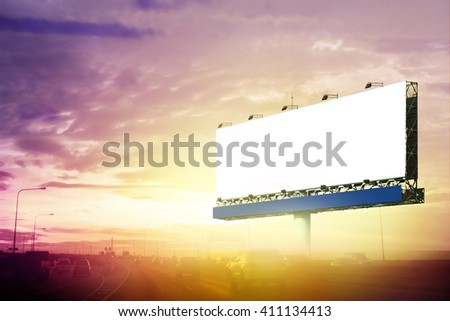 Blank Outdoor Advertising Billboard on highway. - stock photo