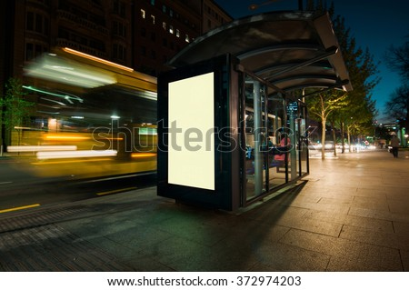 Blank outdoor bus advertising shelter  - stock photo