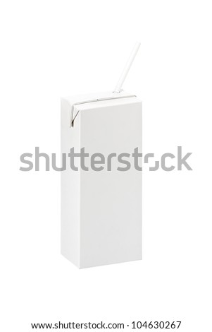 Blank pack box of Milk or juice with straw  on white background, isolated,  Realistic photo image - stock photo