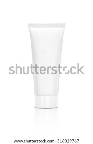 blank packaging cosmetic tube isolated on white background - stock photo