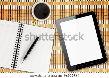 Blank Pad of Paper, Pen & Coffee, Tablet PC - stock photo