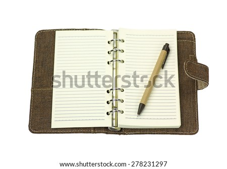 blank page of note book with pen isolated on white background - stock photo