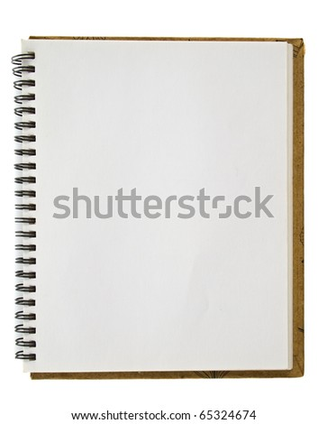 Blank page of recycle sketching notebook - stock photo