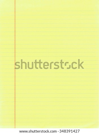 Blank page of yellow lined paper - stock photo