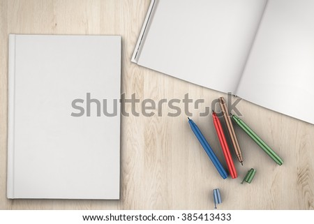 blank pages notebook - stock photo
