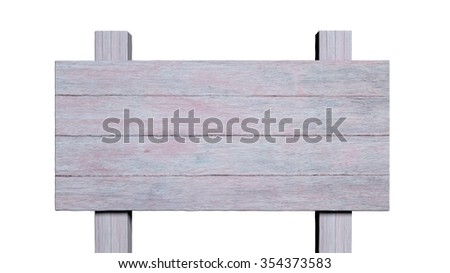 Blank painted wooden road post, isolated on white background. - stock photo