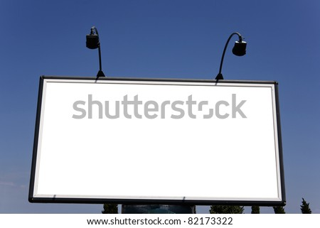 blank panel on the highway - stock photo