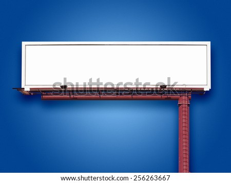 Blank panoramic billboard sign on blue  background with space for advertising message - stock photo