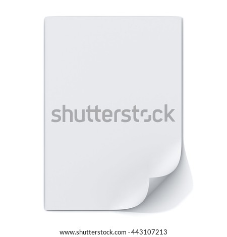 Blank paper A4 sheet with page curl isolated on white background with shadow. 3D rendering. - stock photo