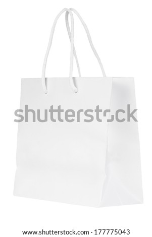 Blank paper bag isolated on a white background - stock photo