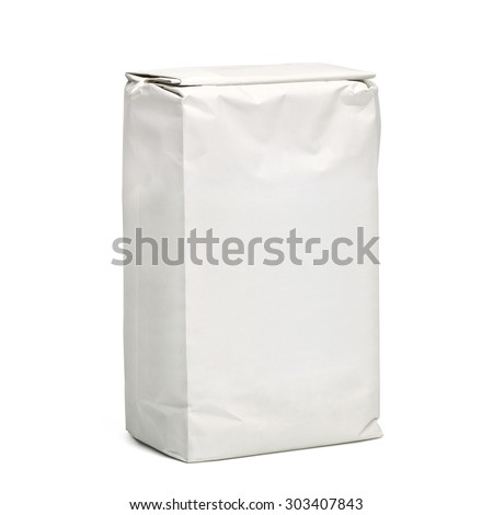 Blank paper bag package of flour isolated on white background including clipping path - stock photo