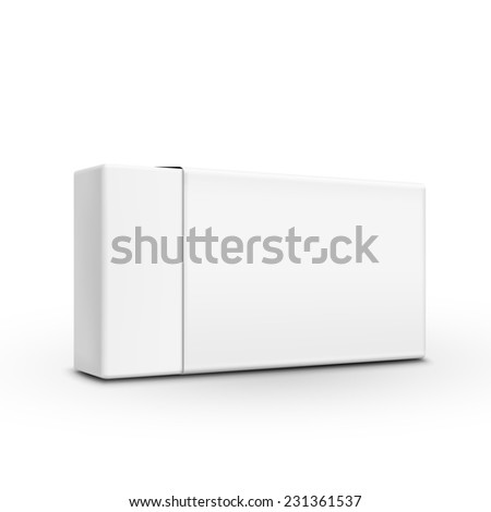blank paper box template isolated on white background - stock photo