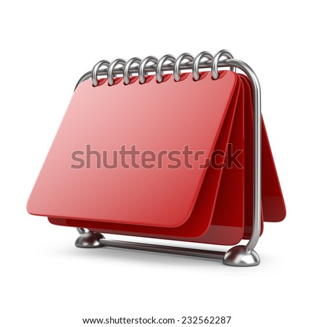Blank paper calendar. 3D Icon isolated on white background - stock photo