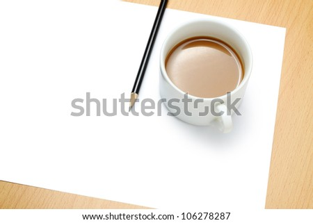 Blank paper, cup of coffee and pencil - stock photo