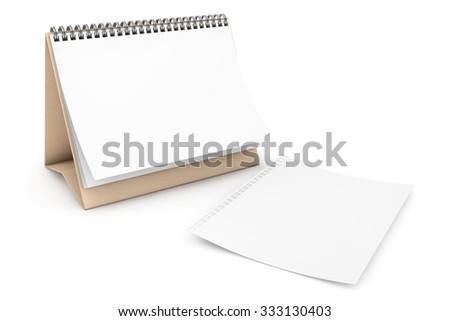 Blank paper desk spiral calendar on a white background - stock photo