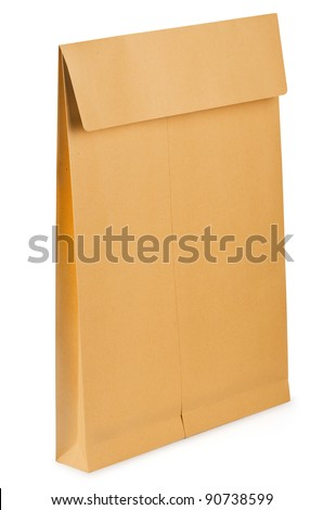 Blank paper documents bag isolated on white - stock photo