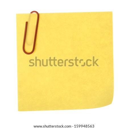 Blank paper note with clip on white background - stock photo