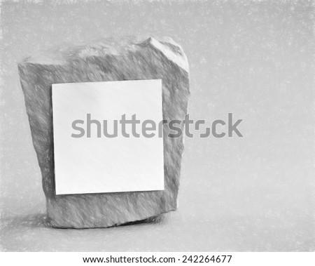 blank paper on rock  - illustration based on own photo image - stock photo
