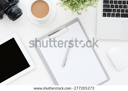 Blank paper on the office table, view from above - stock photo