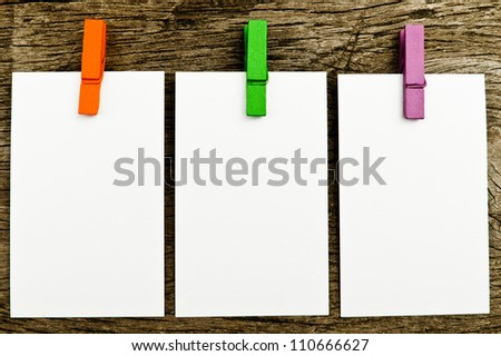 Blank paper on wood. - stock photo