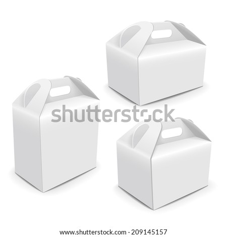 blank paper packaging bags with handle isolated on white background - stock photo