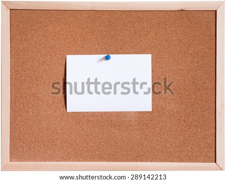 Blank paper pin up on cork board isolated on white background - stock photo