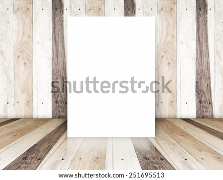 blank paper poster on  tropical wood room,template for your content - stock photo