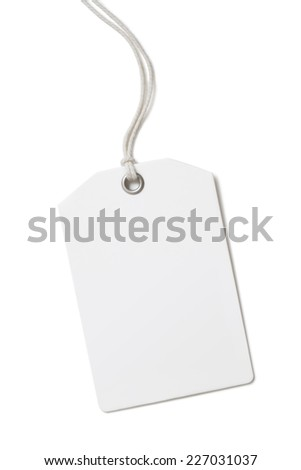 Blank paper price tag or label isolated on white - stock photo