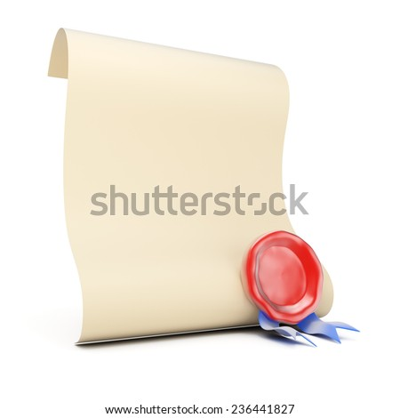 Blank paper roll with wax seal isolated on white background. 3d render - stock photo