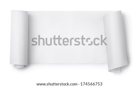 Blank paper scroll isolated on white - stock photo