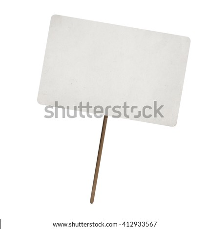 blank paper sheet on wooden stick with copy space. Isolated - stock photo