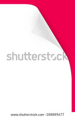 Blank paper sheet with realistic, white, glossy page curl on red background. - stock photo