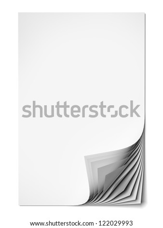 Blank paper sheets isolated on a white background - stock photo