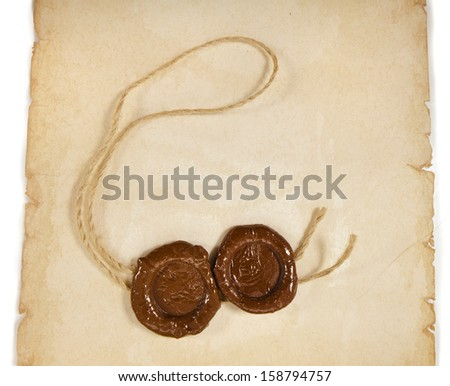 Blank paper surface texture with wax seal close up isolated on a white background  - stock photo