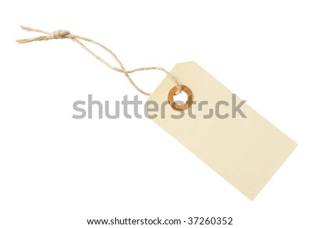 Blank paper tag with cotton string isolated on white background with clipping path - stock photo
