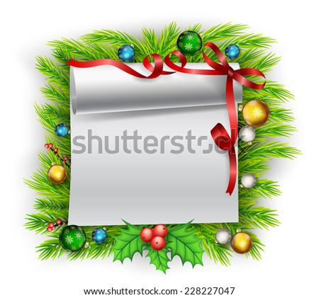 Blank paper with Christmas decoration - stock photo