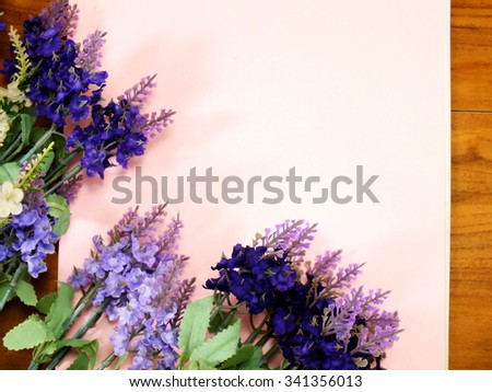blank paper with lavender and on texture paper place for your - stock photo