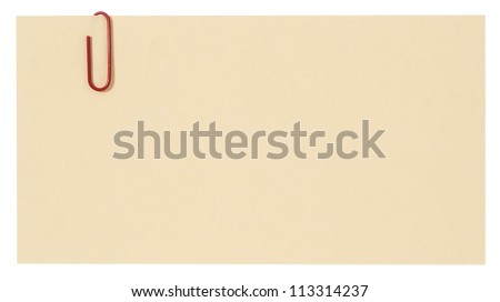 Blank paper with red staple - stock photo