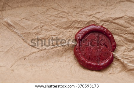 Blank paper with wax seal - stock photo