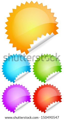 Blank Peeling, curling stickers, labels, badges suitable for price tags, sale concepts or general web or print design elements (jpg version) - stock photo
