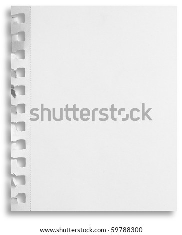Blank perforated notepaper sheet with ripped holes and shadow isolated on white background. - stock photo