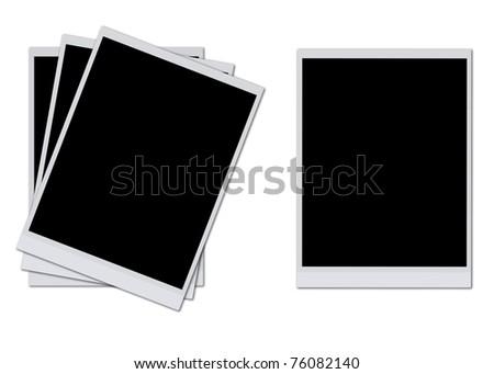 Blank photo frames isolated on white background - stock photo