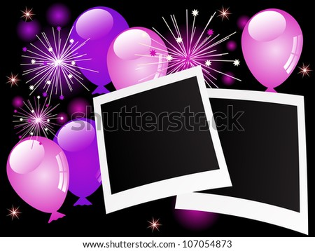 Blank photo frames with violet balloons and stars - stock photo