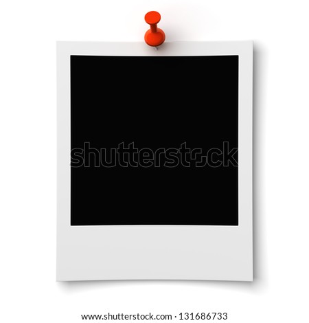 blank photo pinned on wall on a white background - stock photo