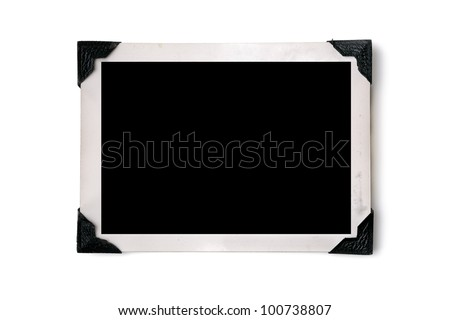 Blank photo with corner tabs - stock photo